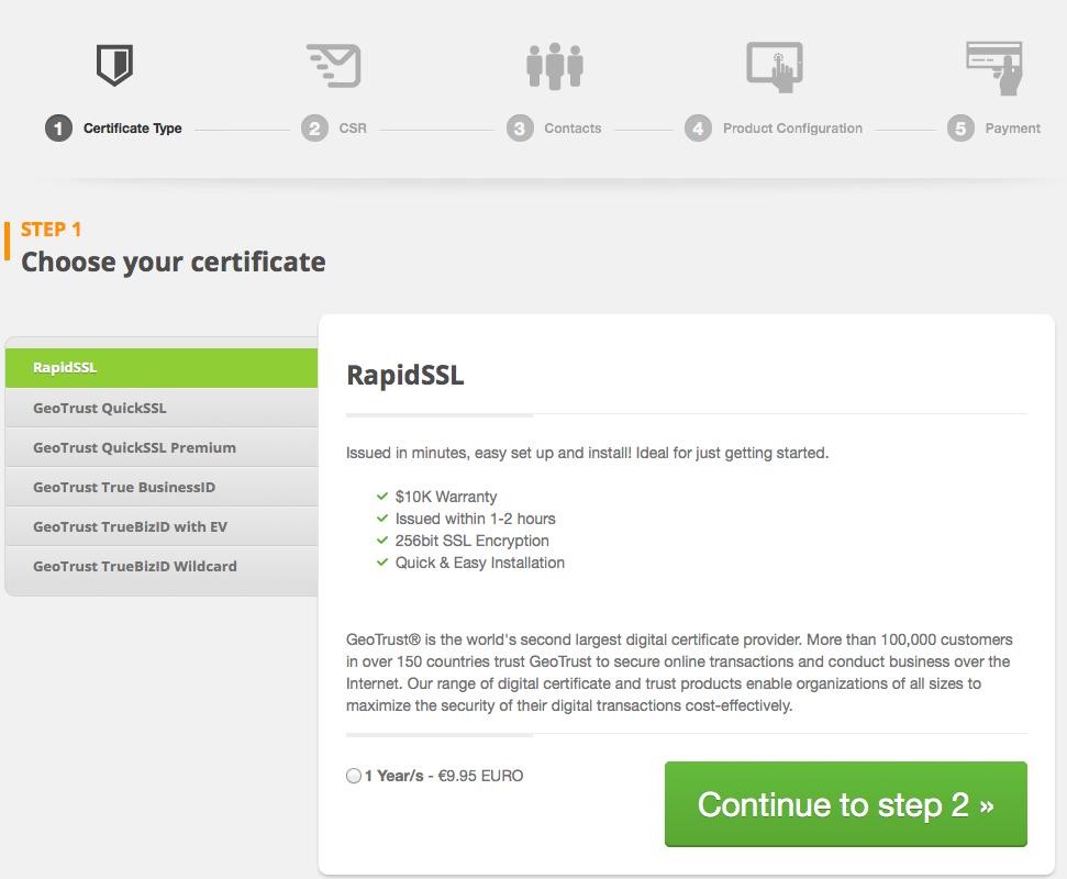 SSL cert order form